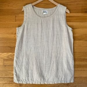 Eileen Fisher 100% Linen Tan Sleeveless Shell 2